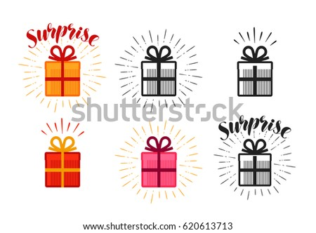 Gift box, surprise set of icons. Lettering vector illustration