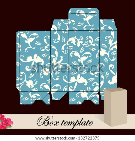 Gift box template.Print. Cut along solid outer border with scissors. Fold back on dashed lines to form your favor box. Use adhesive to secure side and bottom flap.