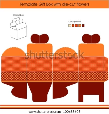 Gift box template with dots design