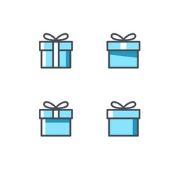 Gift box vector icon set. Presents sign isolated on white. Sale, shopping concept. Collection for Birthday, Christmas. Cartoon flat design