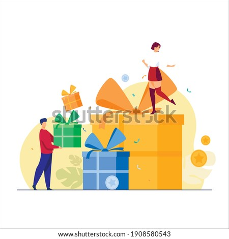 Gift box vector in different color with girl and boy. Isolated in white background.
