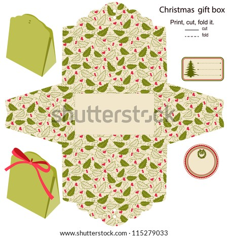 Gift box vector. Isolated. Christmas pattern. Empty label. Template.