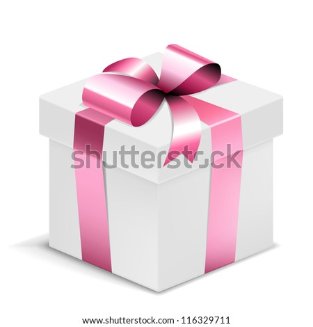 Gift Box white with pink bow isolated on white. Vector Illustration