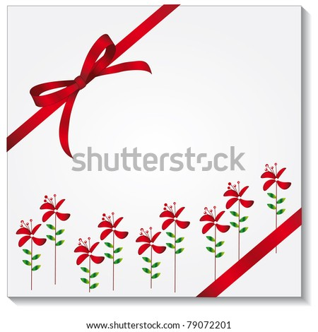 Gift box with a red bow. Vector illustration