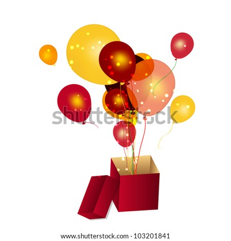gift box with baloons vector illustration - stock vector