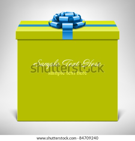 Gift box with blue bow. Vector background eps 10.