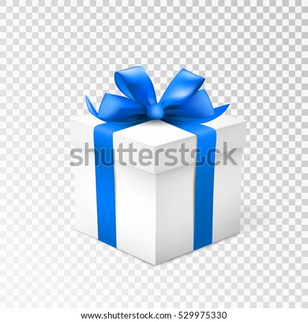 Gift box with blue ribbon isolated on transparent background. Vector illustration.