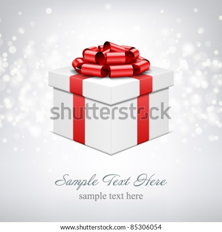 Gift box with bow and light. Vector background eps 10.