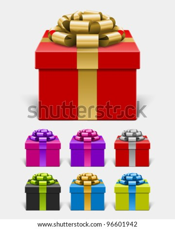 Gift box with bow and ribbon set. Vector illustration eps 10.