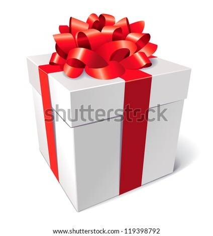 Gift box with bow, isolated on white background, vector illustration