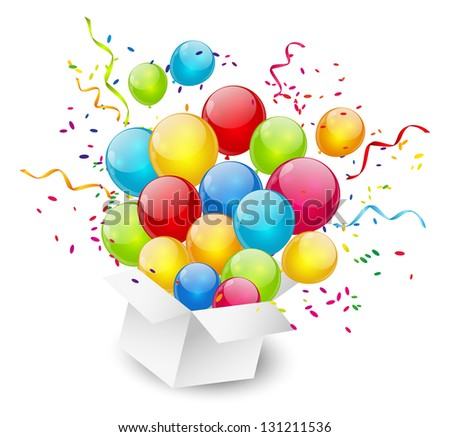 Gift box with color balloons