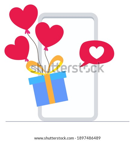 gift box with hearts balloon