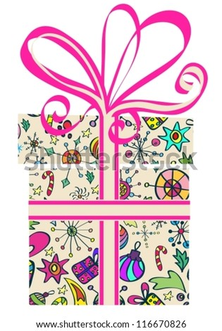 Gift box with holiday pattern, New Year design, vector
