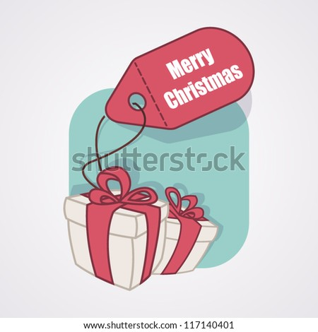 "Gift box with label ""Merry Christmas"""