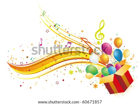 gift box with music elements - stock vector
