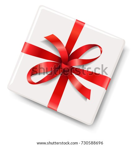 Gift Box With Red Bow Gradient Mesh, Vector Illustration