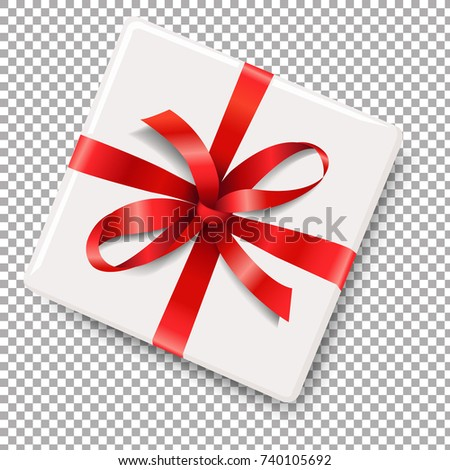 Gift Box With Red Bow With Gradient Mesh, Vector Illustration