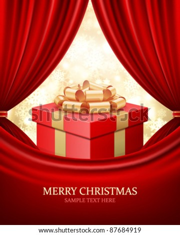 Gift box with ribbon and curtain. Vector background eps 10.