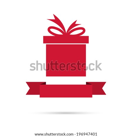 gift box with ribbon flat