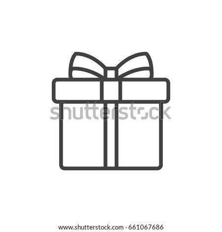 Gift box with ribbon line icon, outline vector sign, linear style pictogram isolated on white. Symbol, logo illustration. Editable stroke. Pixel perfect