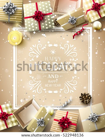 Gift boxes and baubles on gold background - Luxury Holiday greeting card with calligraphic inscription