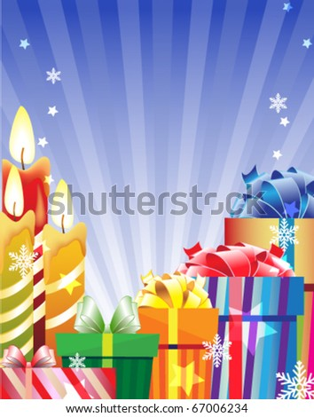 Gift boxes and burning candles on a shining background