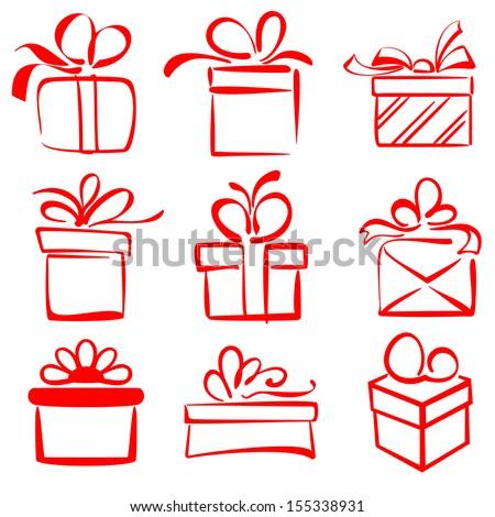 gift boxes icon set sketch