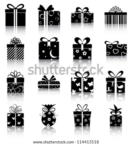Gift boxes - 16 icons/ silhouettes of gift boxes.