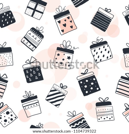 Gift boxes in seamless pattern, vector background