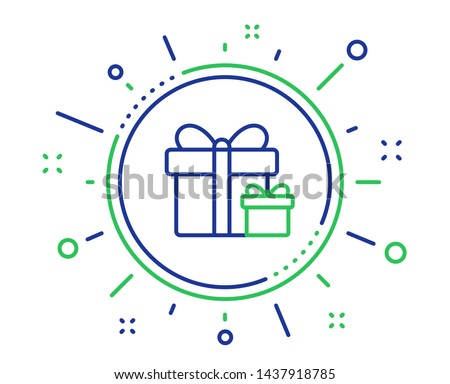 Gift boxes line icon. Present or Sale sign. Birthday Shopping symbol. Package in Gift Wrap. Quality design elements. Technology surprise package button. Editable stroke. Vector Stockfoto ©