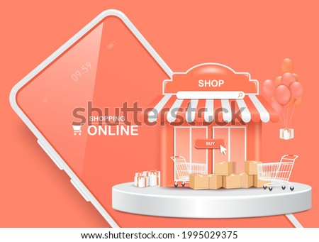 Gift boxes, parcel boxes, shopping carts, and shops and all object is on a smartphone for delivery and shopping online concept,vector 3d isolated on pastel pink background