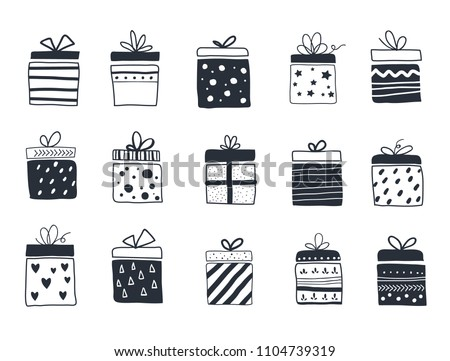 Gift boxes set, hand drawn, Scandinavian style, vector illustration