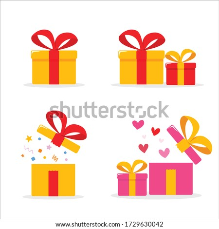 gift boxes set open surprise valentine
