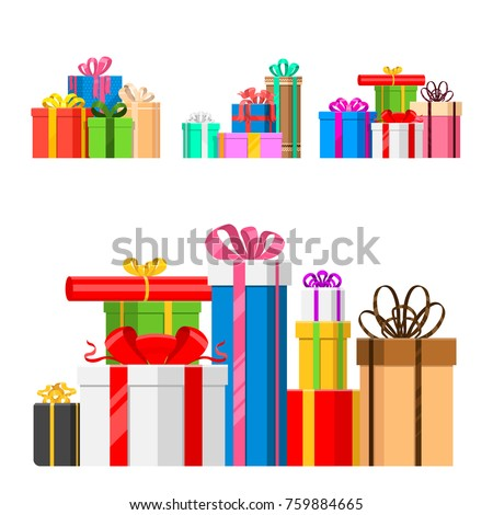 Gift boxes vector set christmas presents gifted on xmas greeting colorful birthday gifts boxed and wrapped with ribbon bow isolated party objects illustration.
