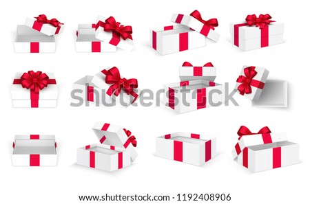 Gift boxes. White open present empty box with red bow and ribbons. Christmas and valentine day vector template. Illustration of cardboard box with bow ribbon