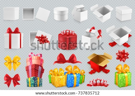 Gift boxes with bows. 3d set of vector icons