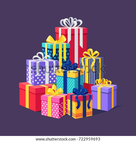Gift boxes with ribbon, bow set isolated on background. Big pile of presents, surprises, prizes. Shopping for xmas. Christmas, birthday, holidays concept. Vector illustration Flat cartoon style design