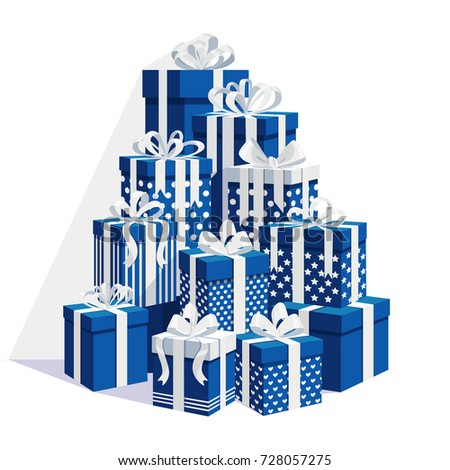 Gift boxes with ribbon, bow set isolated on white background. Big pile of presents, surprises, prizes. Shopping for xmas. Christmas, birthday, holidays concept. Vector illustration Flat cartoon design