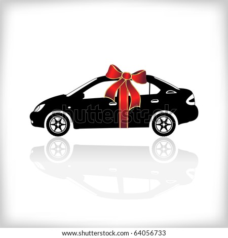 Gift car with red bow, vector illustration