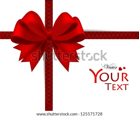 Gift card and invitation with ribbon. Vector illustration.