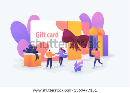 Gift card and promotion strategy, gift voucher, discount coupon and gift certificate concept. Vector isolated concept illustration with tiny people and floral elements. Hero image for website.