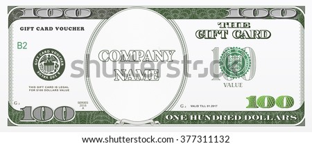 Gift card design template with hundred dollars value. Good for coupon, vouchers, discount cards