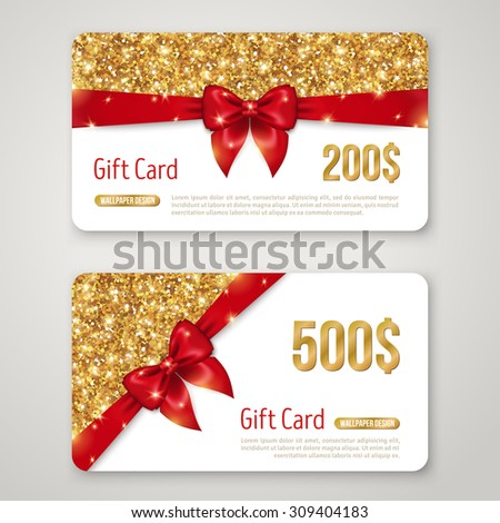 Wedding Gift Card Design : Gift Card Design with Gold Glitter Texture and Red Bow. Invitation ...
