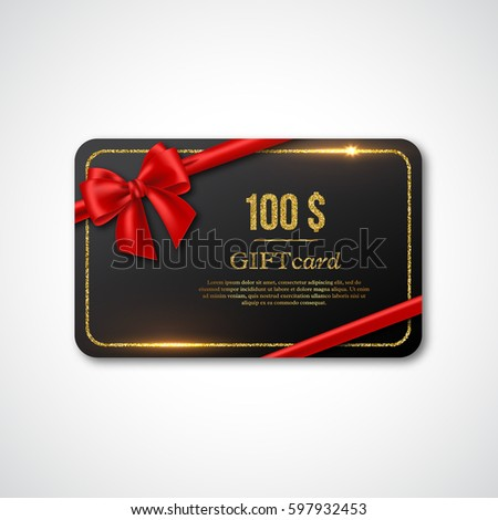 Gift card design with realistic red bow and golden glitter frame. 100 $ voucher, certificate for shopping. Vector illustration.