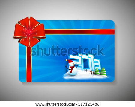 Gift card for Happy New Year celebration with red ribbon and snowman. EPS 10.