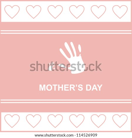 gift card on mother's day with kid's and mother's hand, hearts, vector