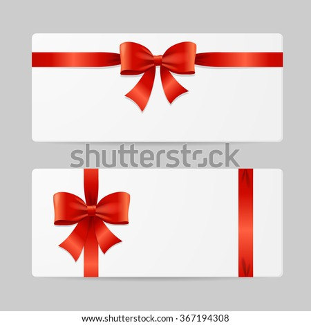 Gift Card Template With Red Ribbon. Vector Illustration
