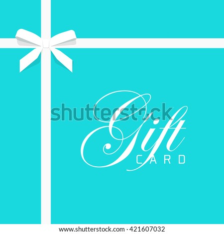 Gift card vector illustration on blue background, luxury thin gift bow with white ribbon and space frame for text, gift wrapping template for banner, poster design