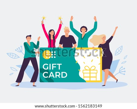 Gift card voucher. Gift certificate, discount cards for customers and happy people hold gift coupon. Shopping voucher prize winning flat vector illustration
