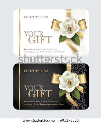 Gift card with a gold bow, ribbon and a magnolia flower. Vector template for gift card, coupon and certificate for a spa, beauty salon, shops, cosmetics and restaurants